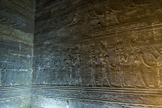 Details, hieroglyphs in Temple of Horus, Edfu, Egypt