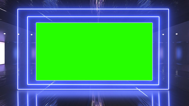 Abstract creative metal stage and led, neon blank billboard, border. Video mock up for advertisement, green screen alpha channel and tracking markers.