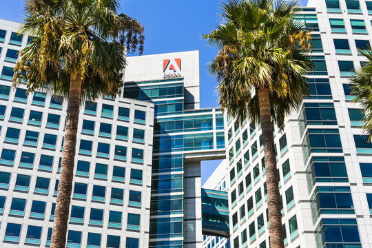 September 3, 2019 San Jose / CA / USA - Adobe Inc. corporate headquarters in downtown San Jose, south San Francisco bay area, Silicon Valley