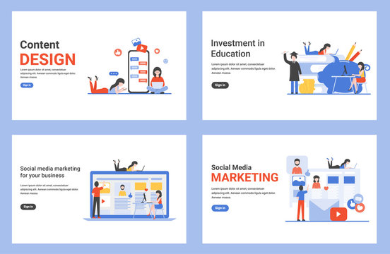 Content design, social media marketing for your business, investment in education. Set flat concept vector modern illustrations for landing page, web, poster, banner, flyer, layout, template, site.