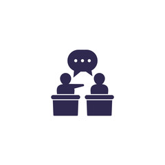 debate or discussion icon, vector