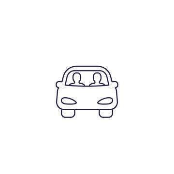 carpool icon on white, line
