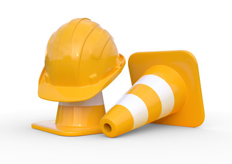 Under construction, traffic cones and safety helmet, isolated on white background. 3d render illustration