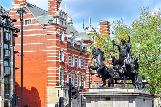 Boadicea monument in city of Westminster, London, UK
