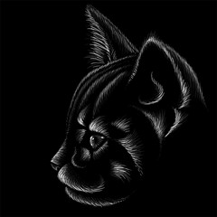 The Vector logo cat for tattoo or T-shirt design or outwear.  Cute print style cat background.