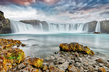 Recess Fitting Waterfalls Godafoss waterfall, Iceland. Amazing long exposure scenery of famous landmark in Iceland - waterfall Godafoss. Popular tourist landmark, travel destination in Iceland.