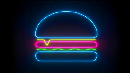 Neon cheeseburger icon isolated on black background, fast food decoration concept. Double cheeseburger in trendy line design, glowing texture, flat graphic design front view. Wall mural