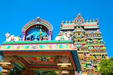 Fototapete - Beautiful Thiruvanaikoil Hindu Temple Tower in Trichy