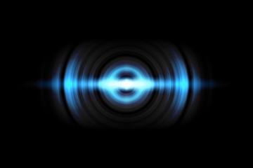 Abstract light blue circle effect with sound waves oscillating on black background