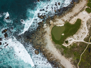 Aerial view of Golf Course on the Water in Pebble Beach California Coast