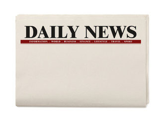 Blank Daily Newspaper isolated on white background, Daily Newspaper mock-up concept