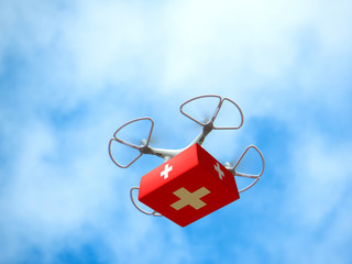 Drone Delivering First Aid Box. Advancing Medical Industry Logistics for Drug Transport. Aerial view