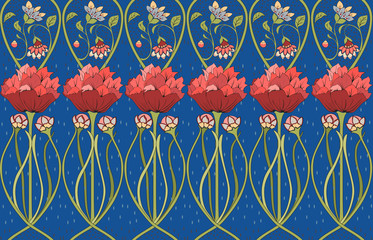 Floral seamless art Nouveau ornament Wall mural