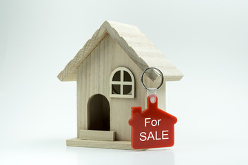 Miniature house model with for sale keychain label