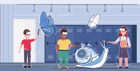 children using 3d glasses and controllers mix race pupils drawing virtual reality butterfly and snail through headset digital technology concept school corridor interior horizontal full length