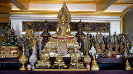 a seated buddha statue at golden mount in bangkok