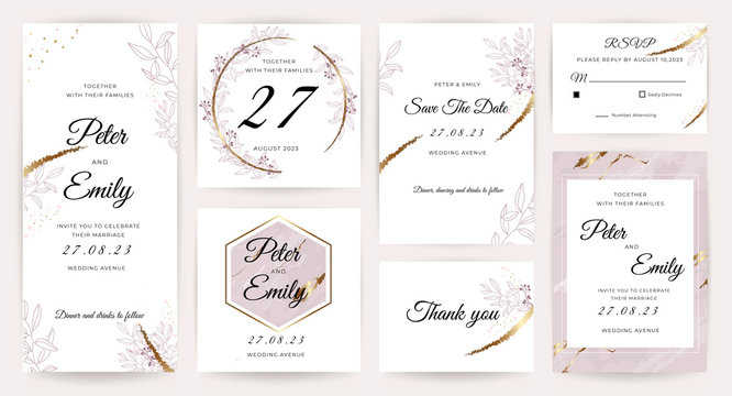Wedding invitation cards with marble, floral and gold texture background. Set of invite card, RSVP, Thank you card, Save The Date card vector collection.
