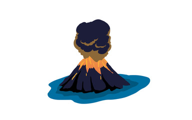 Volcano in silhouette style. Nature disaster eruption with smoke and clouds in the sky. Isolated vector illustration Fototapete