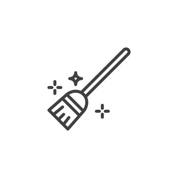 Flying broom line icon. linear style sign for mobile concept and web design. Witch broom outline vector icon. Symbol, logo illustration. Vector graphics