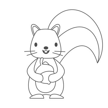 cute lovely black and white cartoon character squirrel with acorn vector illustration for coloring art