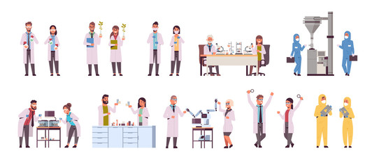 set different scientific researchers making experiments in laboratory scientists group in uniform working with medical equipment research science concept full length flat horizontal