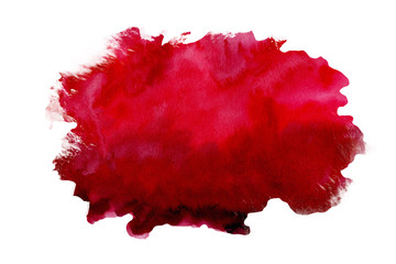 Abstract watercolor red textured background on a white isolated background