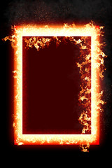3D rendering flame of fire abstract shape on black background