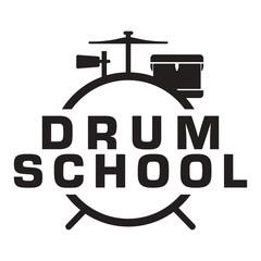 Drum lesson School simple logo icon vector