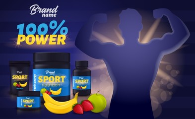 Sport Nutrition with Fruit Flavour, Package Mockup