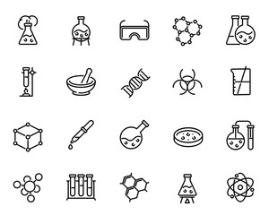 Chemical lab research vector linear icons set