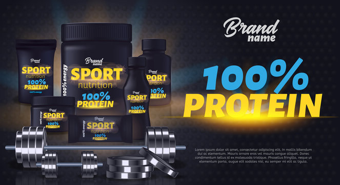 Sport Nutrition Product Containers Ad Banner.
