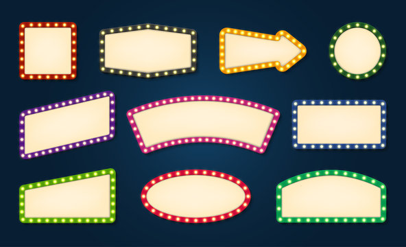 Vintage lights empty signboard vector templates set