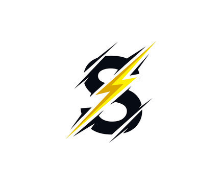 Thunder S Letter icon, flash S electrical logo icon