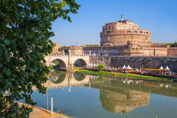 Wall Mural - Castel Sant'Angelo (Castle of the Holy Angel) and Sant' Angelo Bridge. Rome. Italy.
