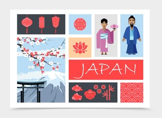 Wall Mural - Flat Japan Elements Composition