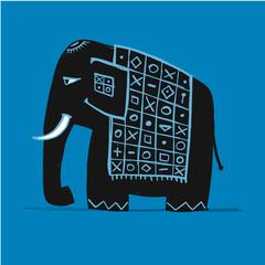 Cute elephant, sketch for your design