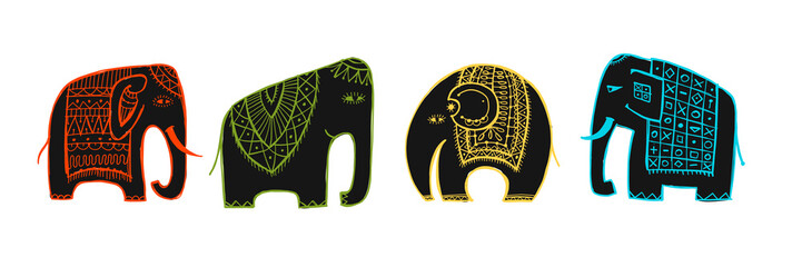 Colorful elephants, sketch for your design