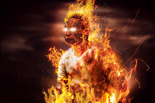 Concept retouching image - Asian Thai man is on fire and flame around his body.