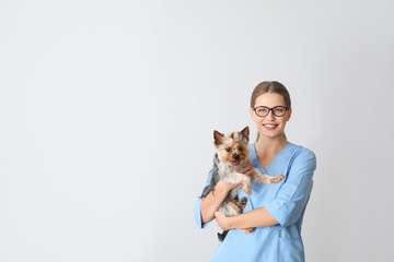 Veterinarian with cute dog on light background