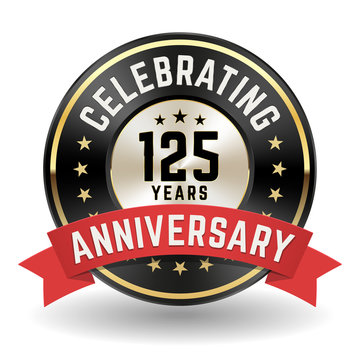 Celebrating 125 Years - Gold Anniversary Badge With Red Ribbon