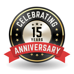 Celebrating 15 Years - Gold Anniversary Badge With Red Ribbon