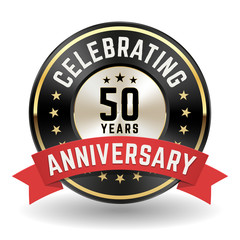 Celebrating 50 Years - Gold Anniversary Badge With Red Ribbon