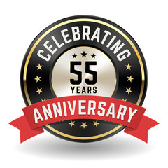 Celebrating 55 Years - Gold Anniversary Badge With Red Ribbon
