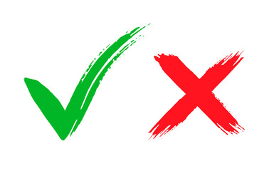 Tick and cross brush signs. Green checkmark OK and red X icons, isolated on white background. Symbols YES and NO button for vote, decision, web.
