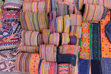 Beautiful Hmong traditional handmade colorful clothes of minority ethnic