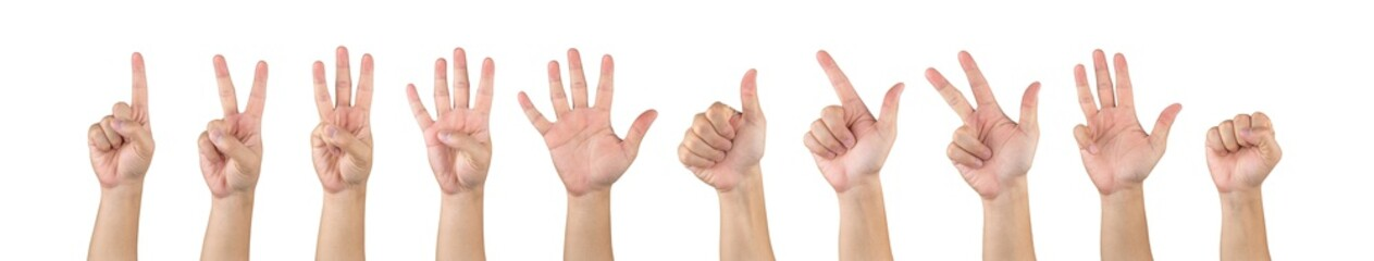 Asian male hands counting one ten isolate white background in studio light - with clipping path.
