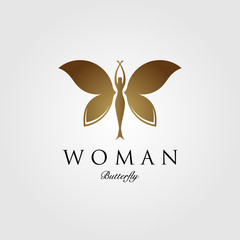 beauty flying woman vintage butterfly logo design illustration