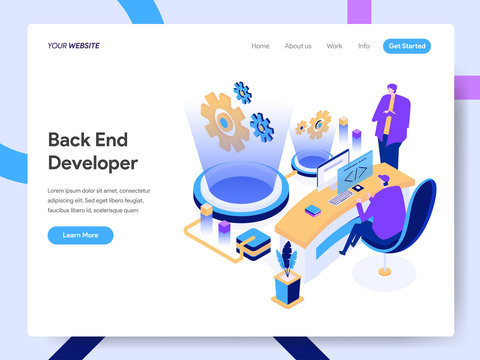 Landing page template of Back End Developer Isometric Illustration Concept. Modern design concept of web page design for website and mobile website.Vector illustration EPS 10