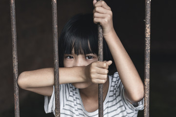 Human trafficking concept, human rights violations, Stop violence and abused children. traumatized children concept.
