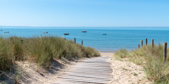 coastal area with sand beach grass entrance to Atlantic ocean in Ile de Noirmoutier France in web banner template header